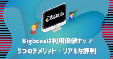 Bigboss(ビッグボス)は利用価値ナシ?5つのデメリット・リアルな評判