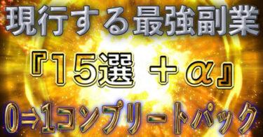 """現行する最強副業ノウハウ""""15選+α""""【0⇒1達成コンプリートパック】"""
