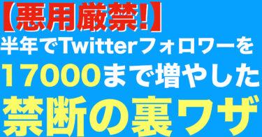 【悪用厳禁!】半年でTwitterフォロワーを17000まで増やした禁断の裏ワザ!